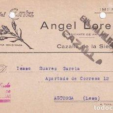 Sellos: ANIS DEL CLAVEL ANGEL LORENZO. CAZALLA DE LA SIERRA. CENSURA MILITAR. 1938 GUERRA CIVIL.. Lote 236135450