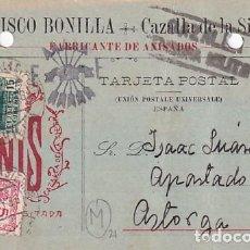 Sellos: FRANCISCO BONILLA CAZALLA DE LA SIERRA. ANIS. FALANE. POSTAL 1938 GUERRA CIVIL. CENSURA.VIÑETA.. Lote 236136070