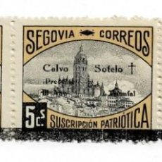 Sellos: C1-61 GUERRA CIVIL SEGOVIA TRIPTICO CON LUTO SOLO EN EL BORDE INFERIOR TIPOS III - I - II FESOFI N. Lote 236187850