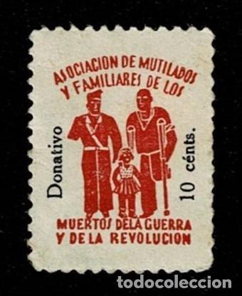 V1-1 ASOCIACION DE MUTILADOS Y FAMILIARES DE LOS MUERTOS DE LA GUERRA Y LA REVOLUCION DONATIVO 10 CT (Sellos - España - Guerra Civil - Viñetas - Nuevos)