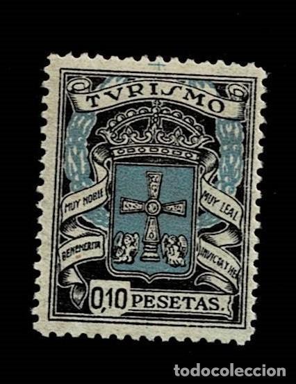 0013 GUERRA CIVIL OVIEDO TURISMO MUY NOBLE , MUY LEAL , BENEMERITA, INVICTA Y HEROICA VALOR 10 CTS (Sellos - España - Guerra Civil - Viñetas - Nuevos)