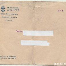 Sellos: CARTA CON MEMBRETE DE FALANGE. PATRIÓTICA. SEVILLA. Lote 236493885