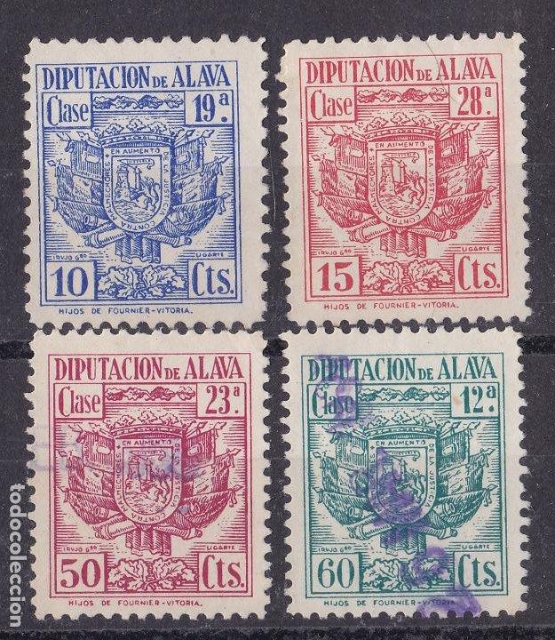 JJ5- FISCALES LOCALES .DIPUTACIÓN DE ALAVA X 4 VALORES (Sellos - España - Guerra Civil - Viñetas - Nuevos)