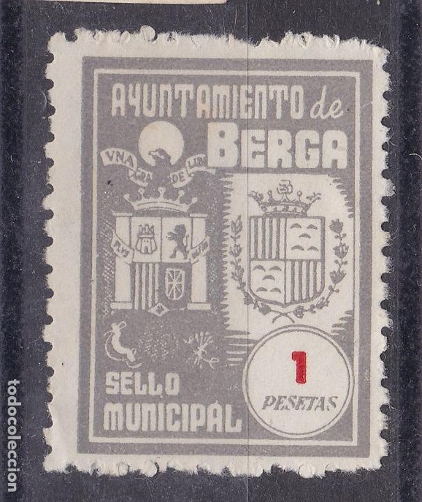 JJ33- FISCALES MUNICIPALES AYUNTAMIENTO BERGA 1 PTA SIN GOMA (Sellos - España - Guerra Civil - Viñetas - Nuevos)