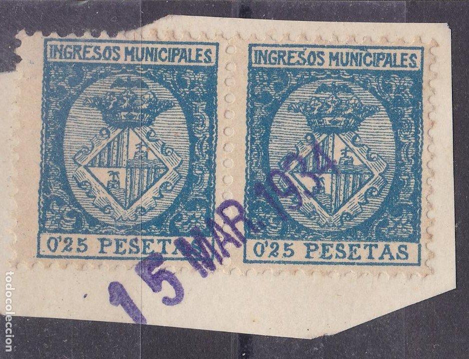 JJ33- FISCALES INGRESOS MUNICIPALES 0.25 CTS PALMA MALLORCA. PAREJA 1934. FRAGMENTO (Sellos - España - Guerra Civil - Viñetas - Nuevos)