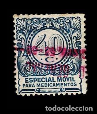 CL8-3 ESPECIAL MOVIL PARA MEDICAMENTOS VALOR 40 CTS. COLOR AZUL USADO (Sellos - España - Guerra Civil - Viñetas - Nuevos)