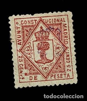 CL8-3 FISCAL AYUNTAMIENTO CONSTITUCIONAL DE MADRID VALOR 25 CENT DE PESETA COLOR CASTAÑO USADO (Sellos - España - Guerra Civil - Viñetas - Nuevos)
