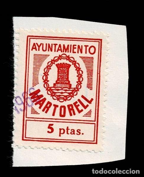 CL8-3 FISCAL AYUNTAMIENTO DE MARTORELL VALOR 5 PTAS COLOR ROJO USADO (Sellos - España - Guerra Civil - Viñetas - Nuevos)