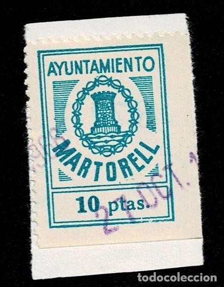 CL8-3 FISCAL AYUNTAMIENTO DE MARTORELL VALOR 10 PTAS COLOR AZUL USADO (Sellos - España - Guerra Civil - Viñetas - Nuevos)