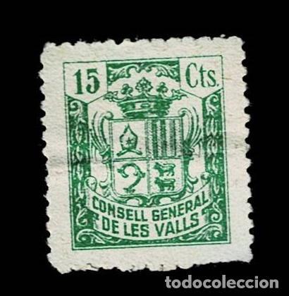 CL8-3 FISCAL CONSELL GENERAL DE LES VALLS VALOR 15 CTS COLOR VERDE (Sellos - España - Guerra Civil - Viñetas - Nuevos)