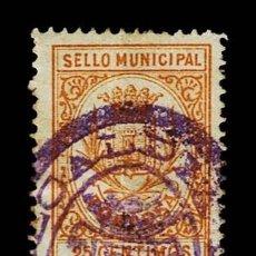 Sellos: CL8-4 FISCAL TORTOSA SELLO MUNICIPAL VALOR 25 CENTIMOS COLOR OCRE. Lote 237031010