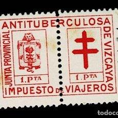 Sellos: CL8-4 FISCAL JUNTA PROVINCIAL ANTITUBERCULOSA DE VIZCAYA IMPUESTO DE VIAJEROS VALOR 2 PESETAS COLOR. Lote 237031780