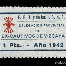 Sellos: CL8-2 GUERRA CIVIL F.ET Y DE LAS J.O.N.S. FALANGE. DELEGACIÓN PROVINCIAL DE EX-CAUTIVOS DE VIZCAYA.. Lote 237033785