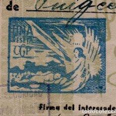 Sellos: L35-17 RARO SELLO VIÑETA FISCAL DE 1 PESETA DE LA CGT. IMPRESO EN UN PASAPORTE ESPECIAL DE LA DIRECC. Lote 237297220