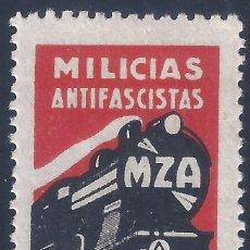 Sellos: MILICIAS ANTIFASCISTAS. TREN MZA (MADRID-ZARAGOZA-ALICANTE). ESCASO. LUJO. MH *. Lote 238216775