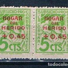 Sellos: ESPAÑA 1936 LA CORUÑA HOGAR DEL HERIDO 2 SELLOS MNH** NUEVOS. Lote 238348010