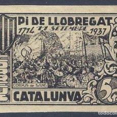 Sellos: PI DE LLOBREGAT FESTA NACIONAL DE CATALUNYA. 11 SETEMBRE 1937. SIN DENTAR. RARO ASÍ. MNH **. Lote 238663285