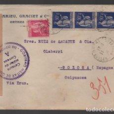Sellos: CARTA DE FRANCIA A GUIPUZCOA, C.M. DE CORREOS A. SAN SEBASTIAN. VER FOTOS. Lote 239553030