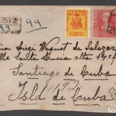 Sellos: CARTA CIRCULADA DE CADIZ A CUBA, C.M. CADIZ-CORREOS-. NO CONTIENE BILLETES, SELLO LOCAL,. VER FOTOS. Lote 239555865