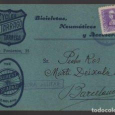 Sellos: POSTAL CIRCULADA DE TARREGA A BARCELONA,- BICICLETAS Y ACCESORIOS,- VER FOTOS. Lote 239556560