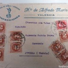Sellos: VALENCIA. CONFECCIONES HNO. ALFREDO MARÍN. CARTA COMERCIAL A JUMILLA. 1937. GUERRA CIVIL. VIÑETA. Lote 239824360