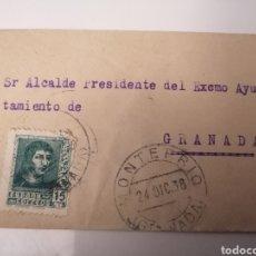 Sellos: MONTEFRIO. GRANADA. CARTA AL ALCALDE DE AYUNTAMIENTO DE GRANADA. 1938. GUERRA CIVIL, ZONA NACIONAL. Lote 240333775