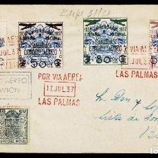 Sellos: C15-4-3 GUERRA CIVIL LAS PALMAS DE GRAN CANARIA SOBRE CIRCULADO DE LAS PALMAS A BURGOS CON SERIE ED. Lote 240425950