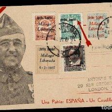 Selos: C16-7 GUERRA CIVIL FRANCO POSTAL PATRIOTICA CIRCULADA DE MALAGA A LONDRES CON VARIEDADES EN LOS SEL. Lote 240436860