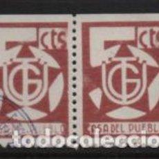 Sellos: VIÑETAS, 5 CTS. PAREJA, VARIEDAD IMPRESION CASA DEL PUEBLO SEMI BORRADO, VER FOTO. Lote 240599355