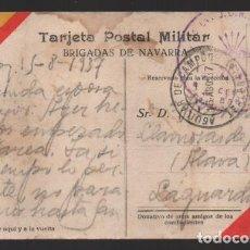 Sellos: POSTAL CIRCULA-BRIGADA DE NAVARRA, SELLO FRANQUICIA DE LA BANDERA, VER FOTOS. Lote 240600845