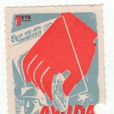Sellos: SELLO 1 PTA AYUDA A LA VOZ DEL COMBATIENTE FONDO AZUL GRIS, PUNTO ENTE LA NY LA T. Lote 240690165