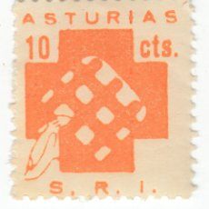 Sellos: SELLO 10 CTS NARANJA SOCORRO ROJO INTERNACIONAL S.R.I. ASTURIAS. Lote 240693315