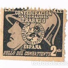 Sellos: SELLO DEL COMBATIENTE - GUERRA CIVIL C.N.T. A.I.T VIÑETA 2 PTAS CONFEDERACION NACIONAL DEL TRABAJ. Lote 241100685