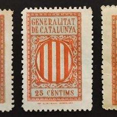 Sellos: GENERALITAT DE CATALUNYA 193? 25 CÉNTIMS. 3 VALORES DIFERENTES. Lote 241125120