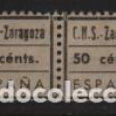 Sellos: ZARAGOZA, 50 CTS. VARIEDAD: C.N.S Y ZARAGOZA CON Y SIN GUION. VER FO. Lote 241668525