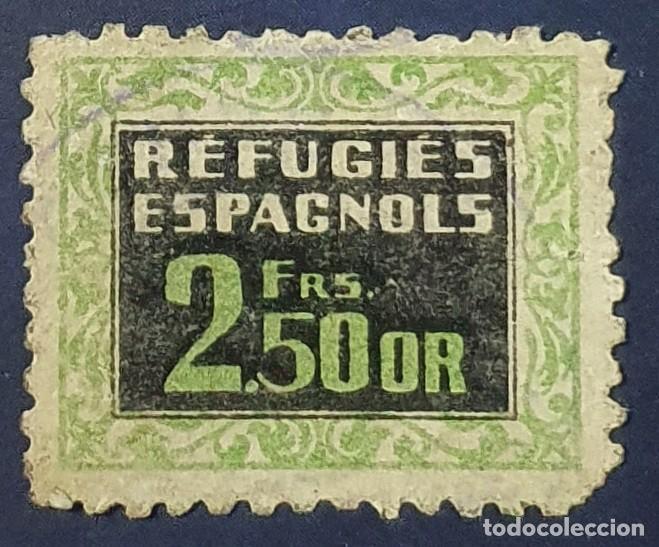 VIÑETA GUERRA CIVIL: REFUGIES ESPAGNOLS 2,50 FRANCOS ORO. DOMENECH 124 DE FRANCIA. ESCASO (Sellos - España - Guerra Civil - Viñetas - Nuevos)