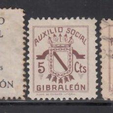 Sellos: AUXILIO SOCIAL. GIBRALEÓN. HUELVA, 5 C. NEGRO, 5 C. CASTAÑO. (AL.1,2.). Lote 242170695