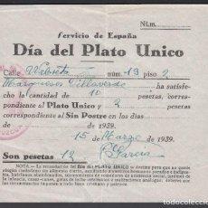 Sellos: DÍA DEL PLATO UNICO. GUIPÚZCOA. 12 PTS, 15 MARZO 1939. Lote 242193690