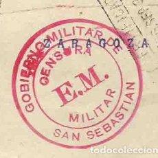 Francobolli: FRONTAL. FERNANDO EL CATÓLICO 30 CTS. EL CID 10 CTS. CERTFICICADO.1938 SAN SEBASTIAN CENSURA MILITAR. Lote 242454890