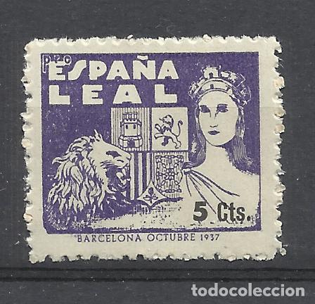 ESPAÑA LEAL 1937 BARCELONA 5 CTS NUEVO** (Sellos - España - Guerra Civil - Viñetas - Nuevos)
