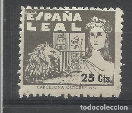 ESPAÑA LEAL 1937 BARCELONA 25 CTS NUEVO** (Sellos - España - Guerra Civil - Viñetas - Nuevos)