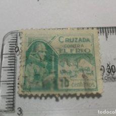 Sellos: GUERRA CIVIL VIÑETA ESPAÑA.- SELLO BENÉFICO DE CRUZADA CONTRA EL FRIO 10 CÉNTIMOS VERDE VARIEDAD. Lote 242993225