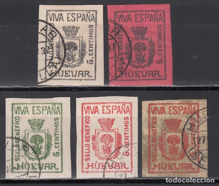 """SELLO BENÉFICO. HUÉVAR. SEVILLA. (AL.12 / 16.), UN SOLO ACENTO EL LA """"U"""", SIN DENTAR. (Sellos - España - Guerra Civil - Viñetas - Nuevos)"""