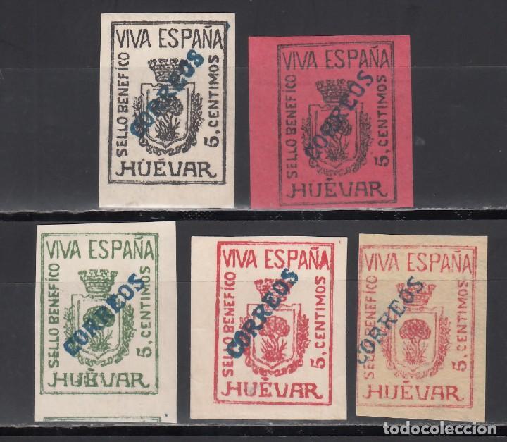 SELLO BENÉFICO. HUÉVAR. SEVILLA. (AL.33 / 38.), SOBRECARGA CORREOS EN DIAGONAL, COLOR AZUL (Sellos - España - Guerra Civil - Viñetas - Nuevos)