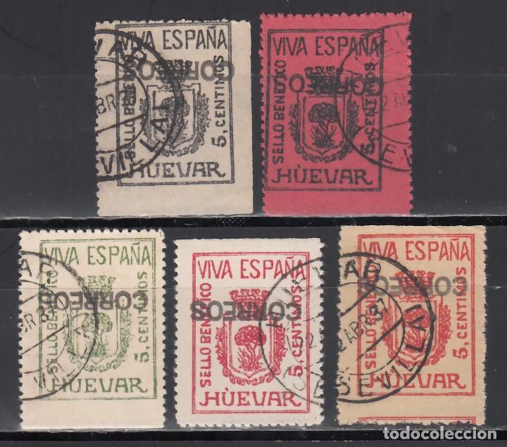 SELLO BENÉFICO. HUÉVAR. SEVILLA. (AL.22 / 27.), SOBRECARGA CORREOS EN NEGRO INVERTIDA (Sellos - España - Guerra Civil - Viñetas - Nuevos)