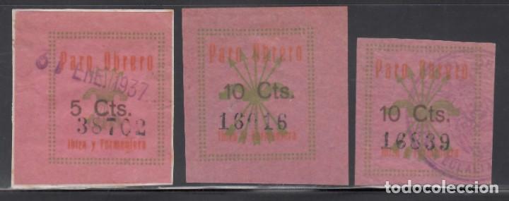 PARO OBRERO. IBIZA Y FORMENTERA, 5 C VERDE Y CASTAÑO, 10 C VERDE Y CASTAÑO. ( AL.2, 4.) (Sellos - España - Guerra Civil - Viñetas - Nuevos)