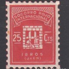 Sellos: SOCORRO ROJO INTERNACIONAL. IBROS. JAÉN. 25 C. ROJO (AL.2). Lote 243048400