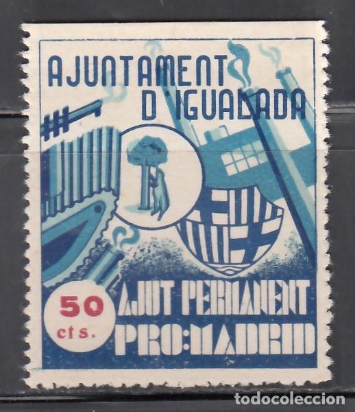 AJUNTAMENT D´IGUALADA. AJUNT PERMANET PRO: MADRID. 50 C. AZUL (AL.13) (Sellos - España - Guerra Civil - Viñetas - Nuevos)