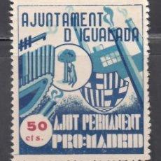 Sellos: AJUNTAMENT D´IGUALADA. AJUNT PERMANET PRO: MADRID. 50 C. AZUL (AL.13). Lote 243052045