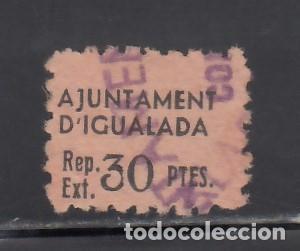 AJUNTAMENT D´IGUALADA. BARCELONA. CUPÓN 30 PTS (Sellos - España - Guerra Civil - Viñetas - Nuevos)